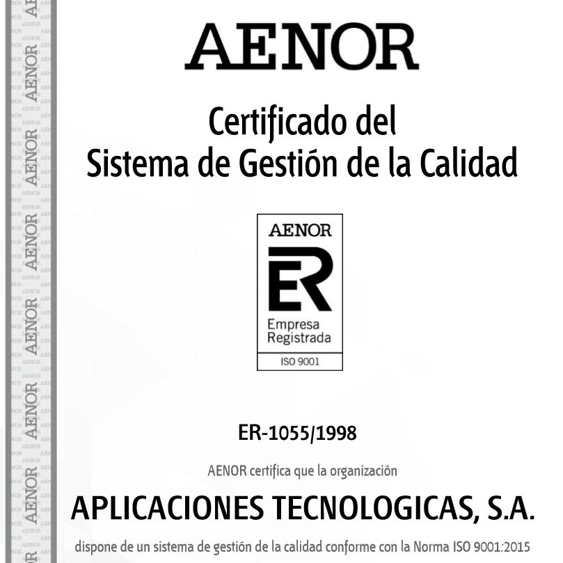 Aplicaciones Tecnológicas recertifica su Sistema de Gestión de Calidad según la nueva norma UNE-EN ISO 9001:2015